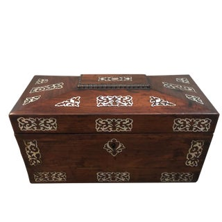 Mid 19th Century Vintage English Rosewood Mother Pearl Inlay Tea Caddy For Sale