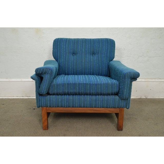 STORE ITEM #: 15471 Danish Modern Mid Century Teak Frame Blue Upholstered Lounge Chair AGE/COUNTRY OF ORIGIN – Approx 50...