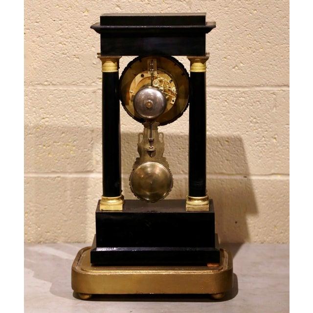 19th Century French Empire Portico Mantel Clock in Original Glass Dome For Sale - Image 9 of 12
