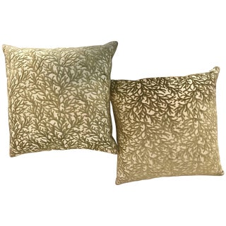Pair of High End Sage Coral Modern Design Throw Pillows For Sale