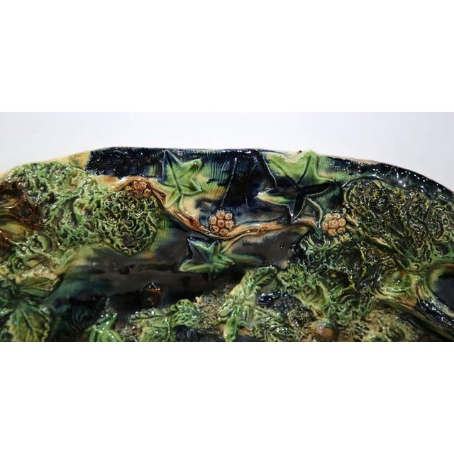 19th Century French Barbotine Hand Painted Majolica Palissy Platters - A Pair - Image 9 of 11