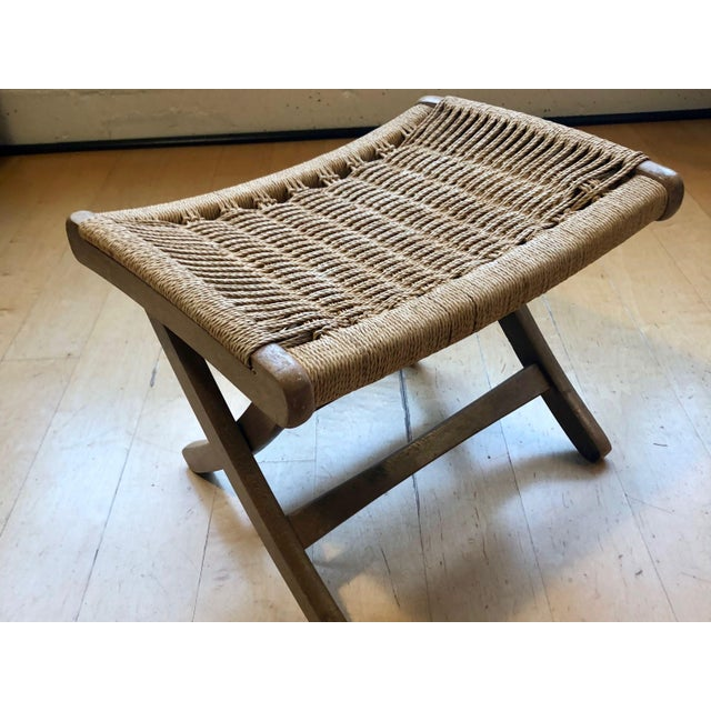 1960's Danish Modern Folding Rope Chair & Ottoman - 2 Pieces For Sale - Image 9 of 10