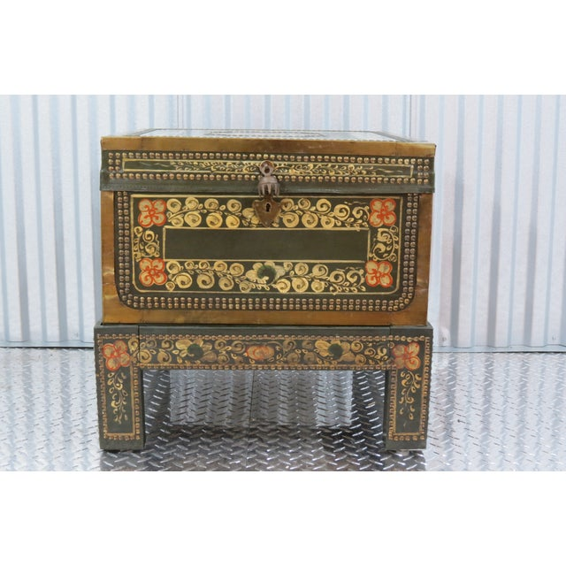 Moroccan Style Painted Trunk With Stand - Image 4 of 8