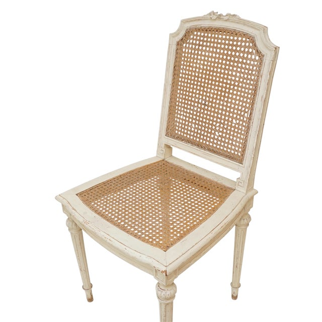 Early 20th Century Louis XVI Style Cane Chairs With Carved Garland Detail - a Pair For Sale - Image 5 of 10