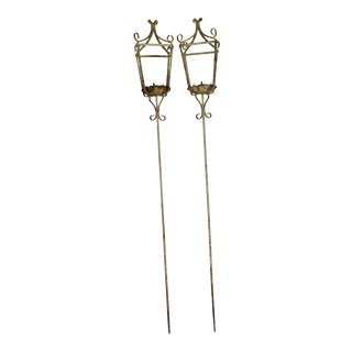 "Rustic ""Outdoor"" Wrought Iron Lanterns - a Pair For Sale"