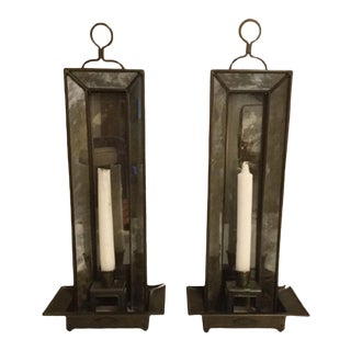 1960s Smoked Mirror Candle Sconces - a Pair For Sale