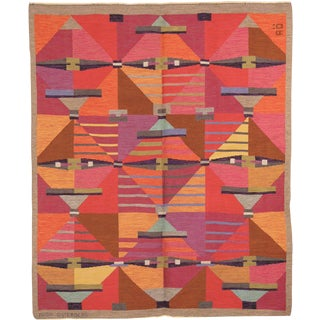 1960s Swedish Flat Weave Rug by Agda Osterberg- 7′1″ × 8′6″ For Sale