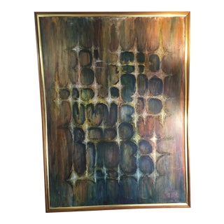 Mid-Century Brutalist Oil Painting on Canvas For Sale