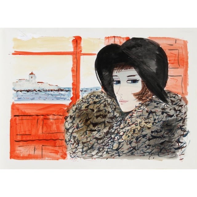 Charles Levier, Portrait of Woman in Black Hat, Watercolor on Paper, Signed For Sale