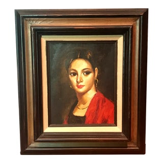 Vintage Mid-Century Modern Original Oil Self Portrait Framed Painting For Sale