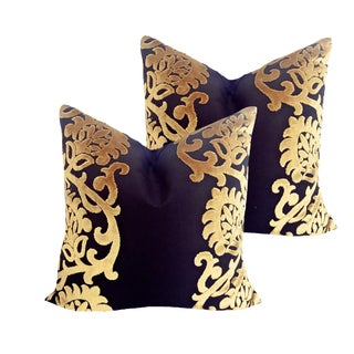 Black and Gold Down Pillows - a Pair For Sale