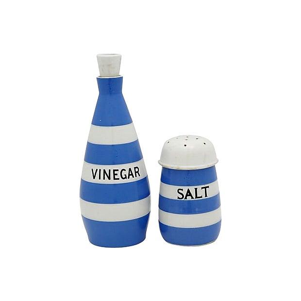 English Cornishware Salt & Vinegar Set For Sale