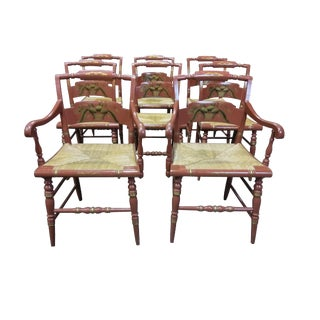 Vintage Mid Twentieth Century Hitchcock Painted Dining Chairs- Set of 8 For Sale