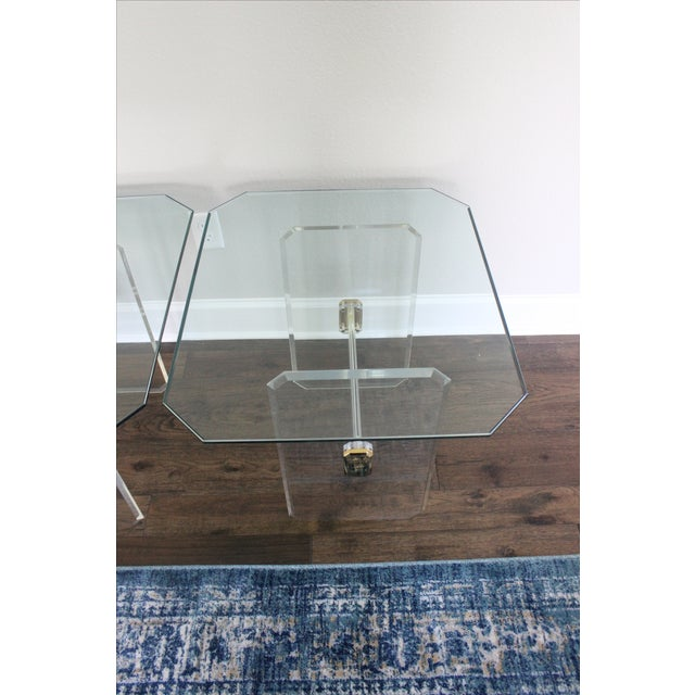 Vintage Lucite Brass and Glass End Tables - Pair - Image 11 of 11