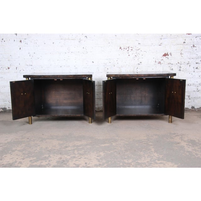 Bernhard Rohne for Mastercraft Hollywood Regency Faux Bamboo Brass and Burl Bedside Chests - a Pair For Sale - Image 10 of 12