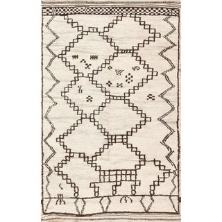 Vintage Moroccan Ivory and Brown Rug - 4′6″ × 7′ For Sale
