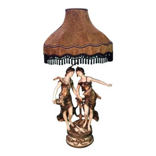 Auguste Moreau Double Figural Table Lamp For Sale