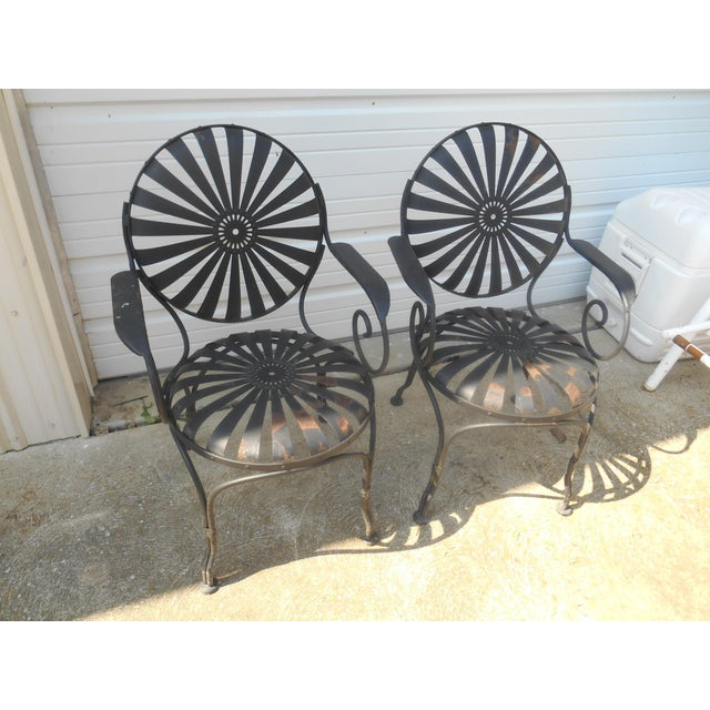 Art Deco 1940s Francois Carre French Art Deco Iron Sunburst Garden Side Chairs- a Pair For Sale - Image 3 of 6