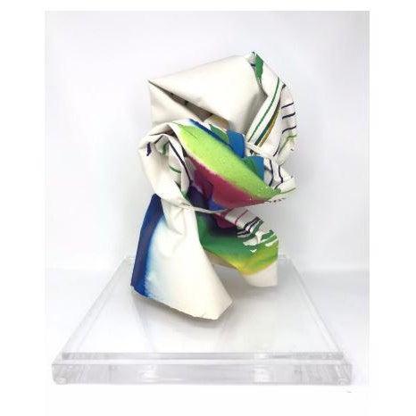 """Modern Vintage Mid-Century Groboski """"Stripes"""" Paper Sculpture & Lucite Case - 2 Pieces For Sale - Image 3 of 4"""