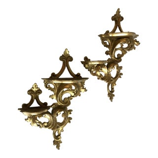 20th Century Italian Gold Florentine Ornate Wood Shelves - a Pair For Sale