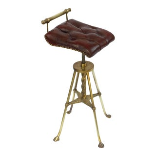 English Harpist's Stool of Brass with Original Button Leather Seat For Sale