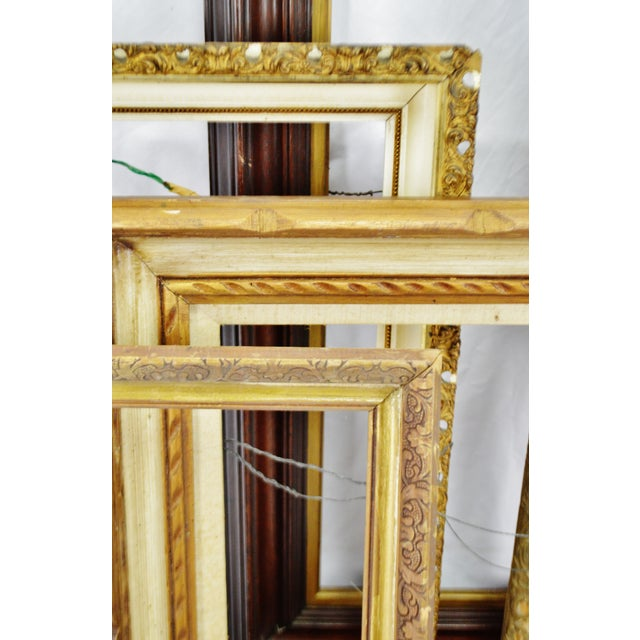 Gold Vintage Medium Sized Wood Picture Frames - Group of 6 For Sale - Image 8 of 13