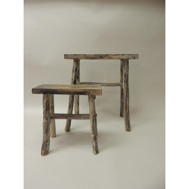 Paint Vintage Asian White Washed Rubbed Wood Painted Artisanal Side Tables - A Pair For Sale - Image 7 of 8
