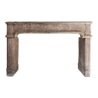 Antique French Limestone Fireplace, 19th Century, Louis XIV For Sale