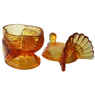 Turkey Glass Candy Dish W/ Lid Preview