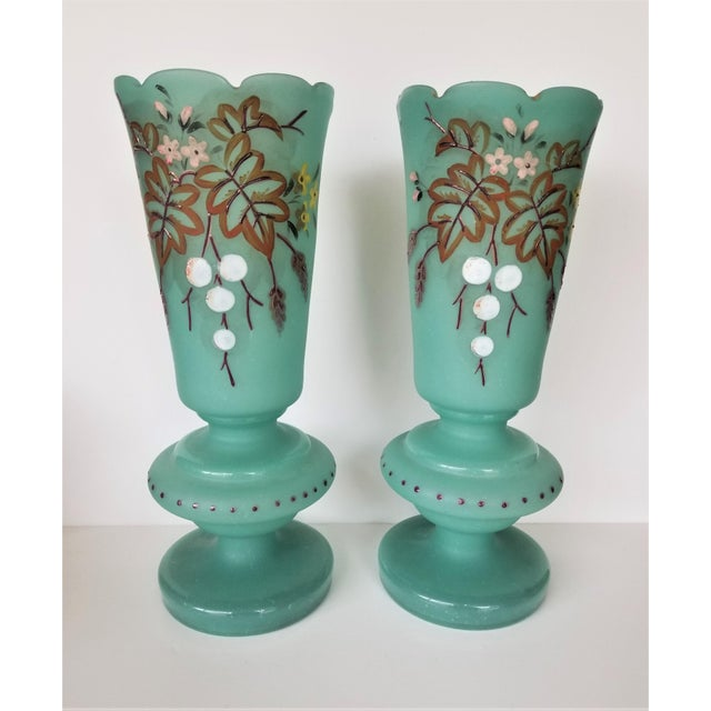 Early 20th Century Victorian Hand Painted Blue Green Bristol Frosted Glass Vases - a Pair For Sale - Image 5 of 13