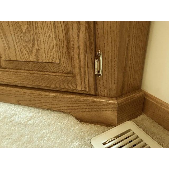 Solid Oak Corner Display Cabinet For Sale - Image 9 of 12