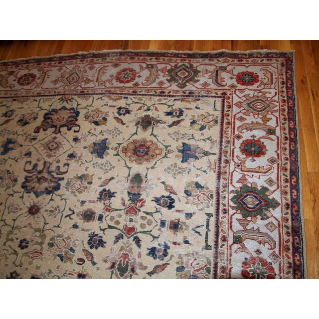 Persian 1900s Handmade Antique Persian Mahal Distressed Rug 8.10' X 11.6' For Sale - Image 3 of 9