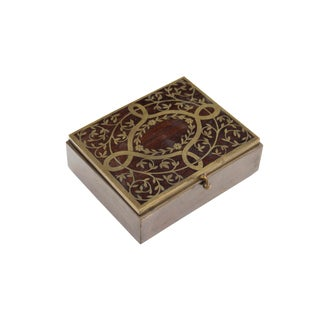 Lidded Antiqued Brass Box Inlaid With Mahogany For Sale
