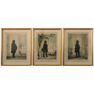 Three 19th Century Silhouette Lithographs of Gentlemen For Sale