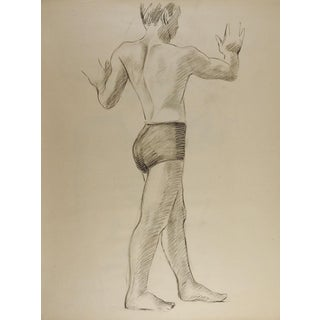 Study Drawing Male Figure 1950's For Sale