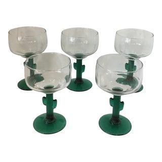 Vintage Margarita Cactus Stem Glasses - Set of 5 For Sale