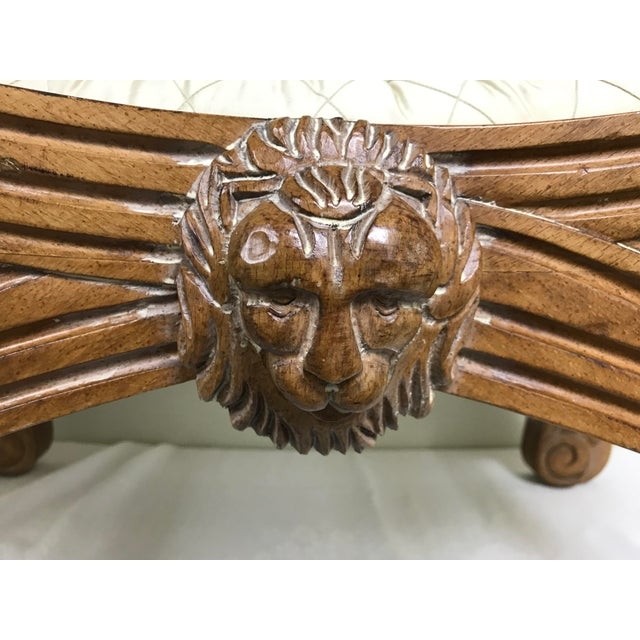 Brown Vintage Henredon Savonarola Style Lion Head Bench For Sale - Image 8 of 13