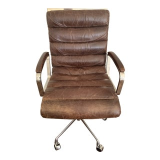 Modern Restoration Hardware Oviedo Leather Desk Chair For Sale