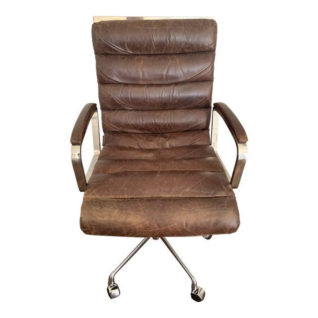 Modern Restoration Hardware Oviedo Leather Desk Chair Chairish