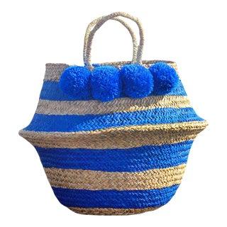 "Brunna ""Stripes Tribes Classic"" Pom-pom Beach Straw Basket Bag, in Blue For Sale"