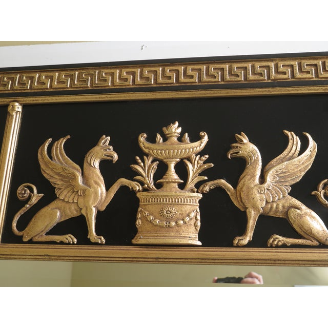Neoclassical Friedman Brothers Neoclassical Style Black & Gold Mirror For Sale - Image 3 of 10
