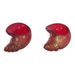 1950s Red and Gold Seashell Murano Glass Bowl by Alfredo Barbini - a Pair