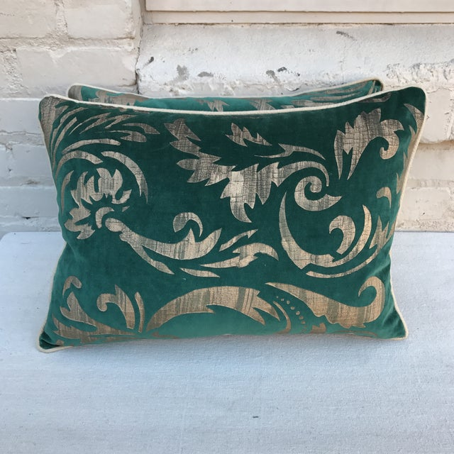 Hand Stenciled Velvet Pillows - A Pair - Image 2 of 6