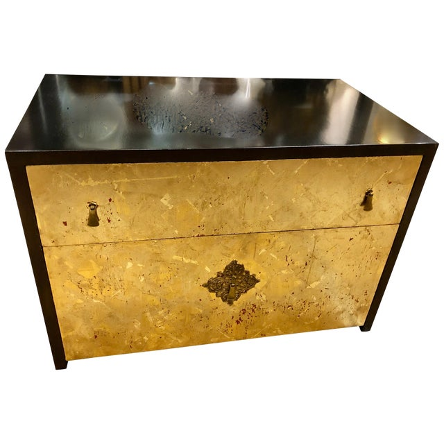 1970s Vintage Mid-Century Modern Gold Leaf and Ebonized Cabinet For Sale