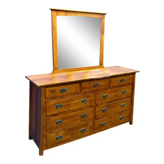 Crafters and Weavers Mission 9 Drawer Dresser With Mirror For Sale