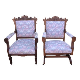 Late 19th Century Vintage Eastlake Arm Chair & Rocker- a Pair For Sale