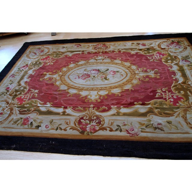 French 1860s, Handmade Antique French Abussan Flat-Weave For Sale - Image 3 of 12
