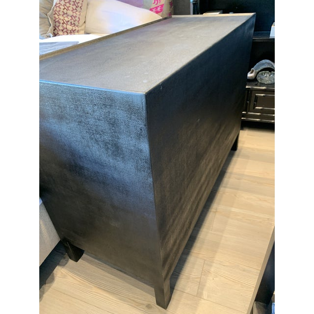 Contemporary Faux Linen Dresser in Black For Sale - Image 9 of 13