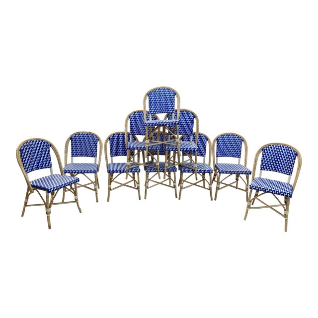 French Bistro Indoor / Outdoor Chairs - Set of 10 For Sale