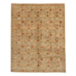 Spanish Bilbao Transitional Design Beige and Red Wool-Silk Rug - 8′ × 10′ For Sale